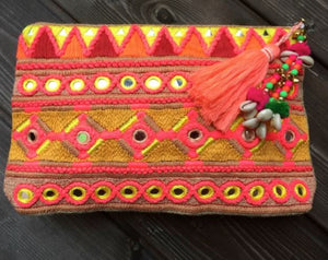 Toscana Ibiza Embroidery Clutch / Crossbody Bag in Yellow Multi