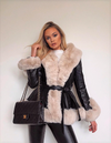 Leather Look Jacket with Faur Fur