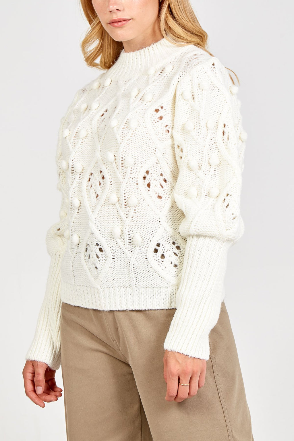 Puff Sleeves Embroidery Jumper