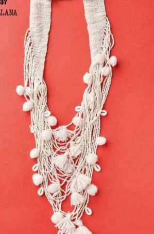 White Antica Beaded Multi Layered Necklace