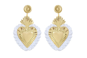 Gold Hearts Earrings with White Fringe