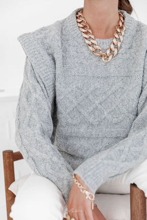 Jacquard-patterned cable-knit wool blend sweater in Grey