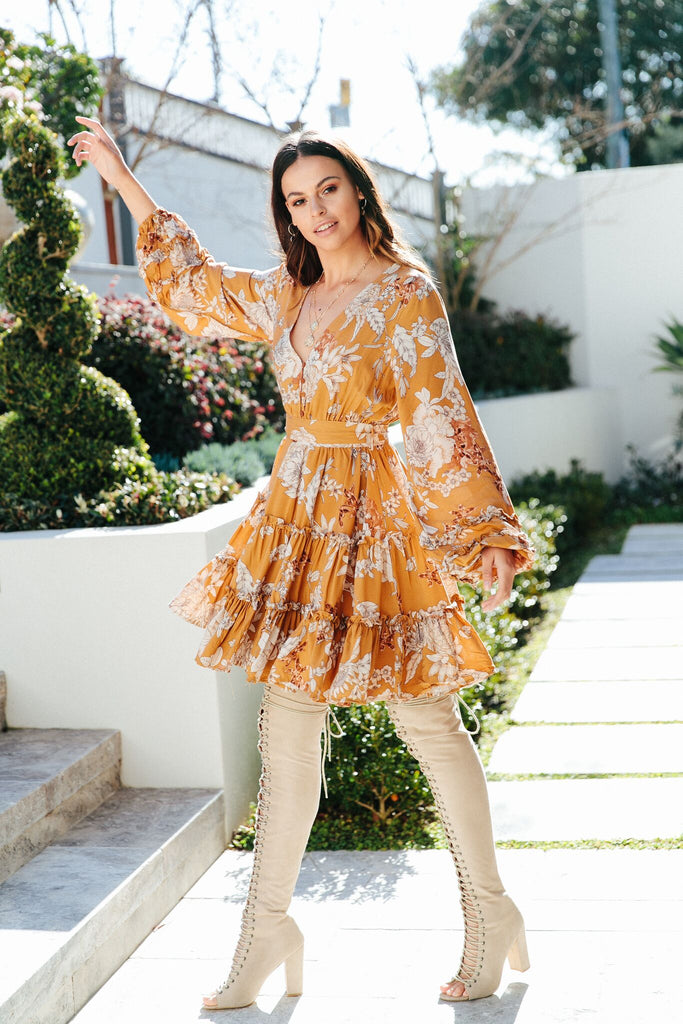 Mini Dress Caprio in Caramel Amber Print
