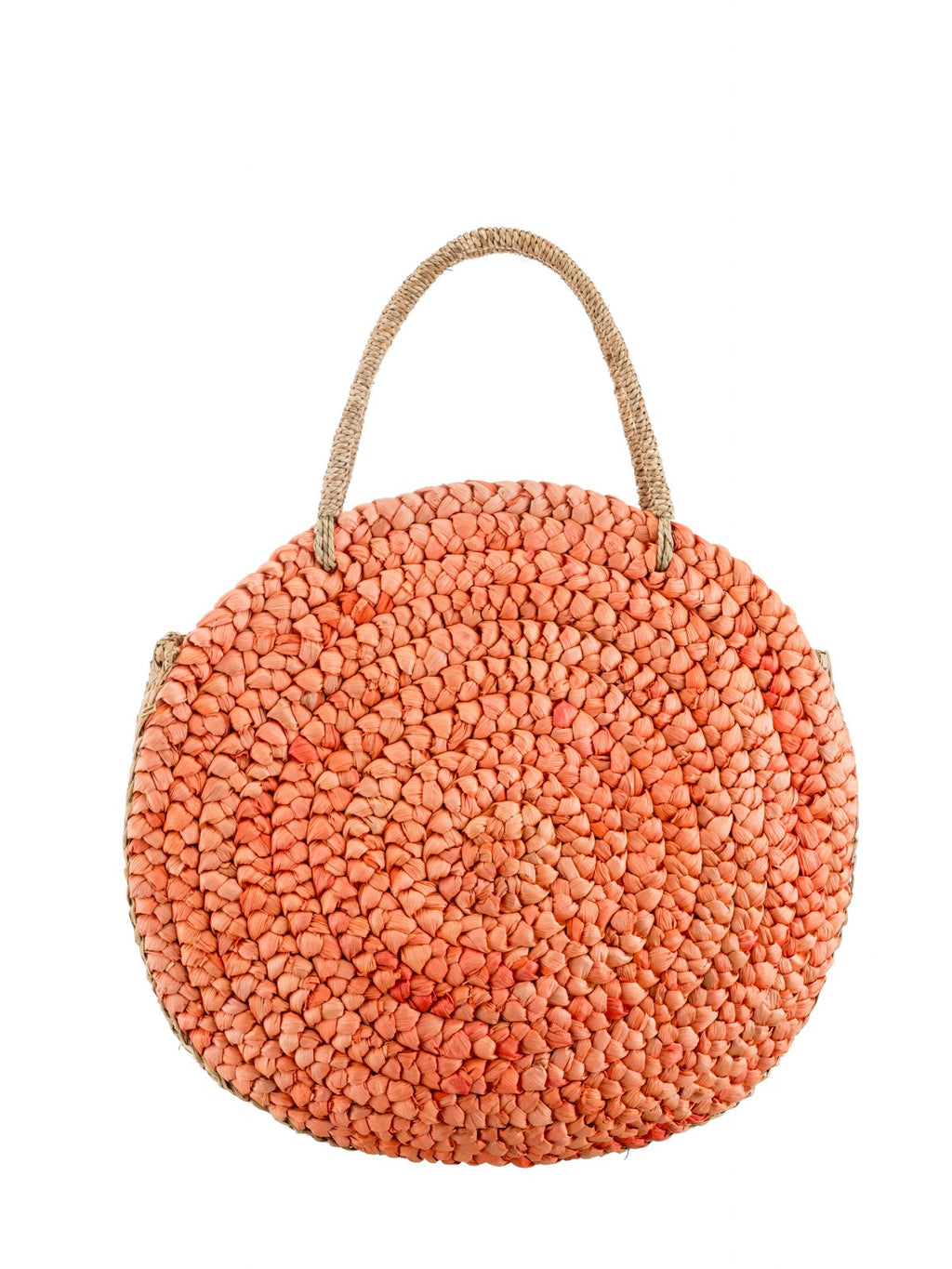 Large  Round Straw bag in Peach
