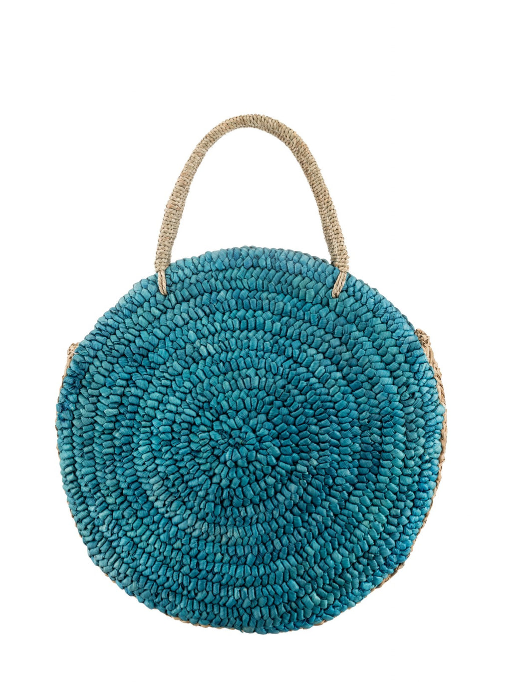 Large Round Straw bag in Turquoise
