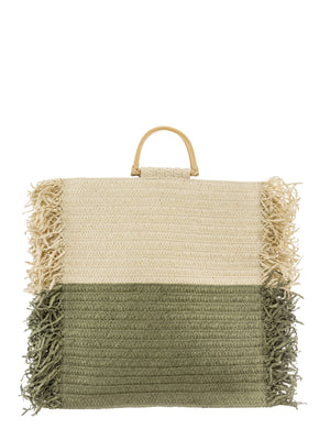Large Square Straw bag in khaki/cream