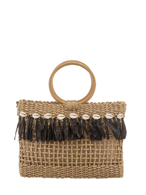 Top Handle Small bag with tassel and shells