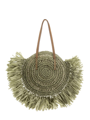 Light Paper Weave round tassel bag in army green