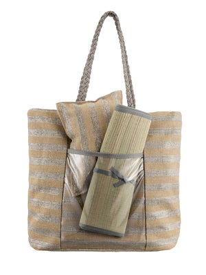 Large Straw bag with Roll Mat & Pillow