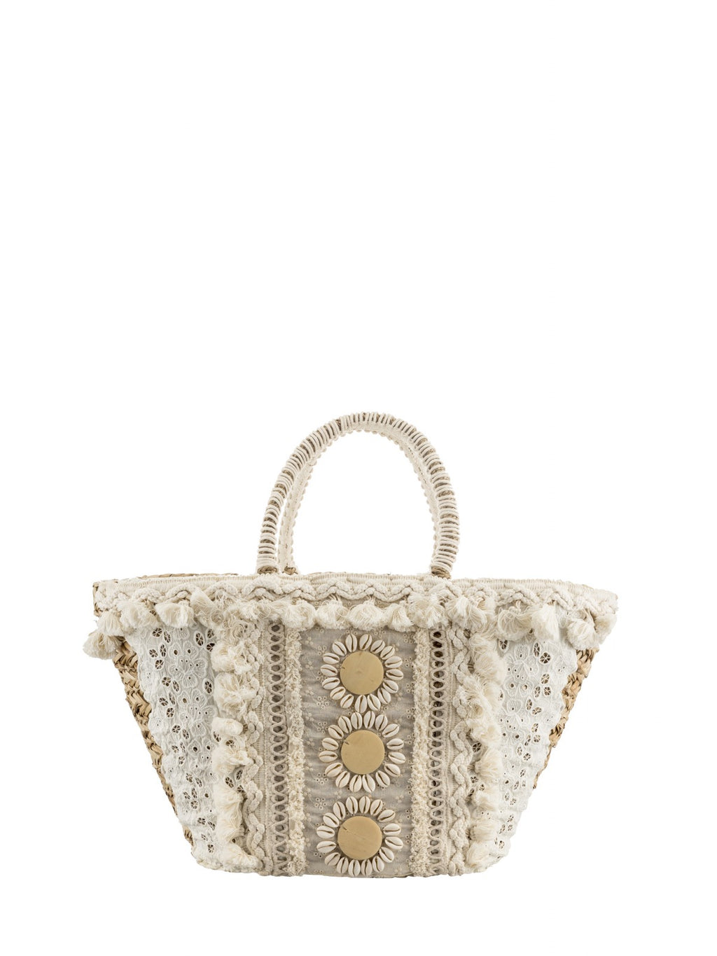 Cream Straw bag adorned with Shells & Tassels