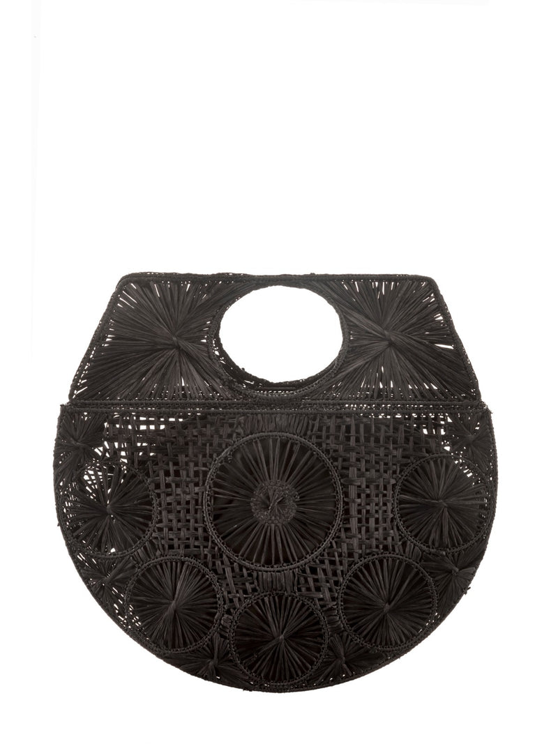 Raffia Moon bag in black