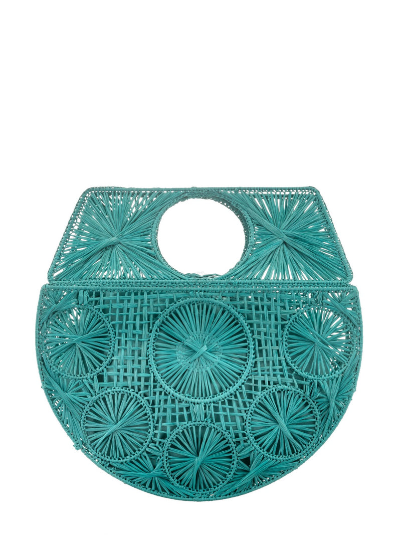 Raffia Moon bag in Turquoise