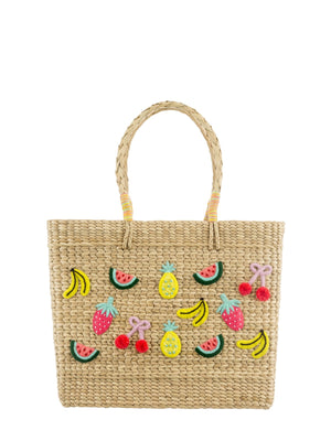Straw Rectangle bag adorned with Fruit Embroidery