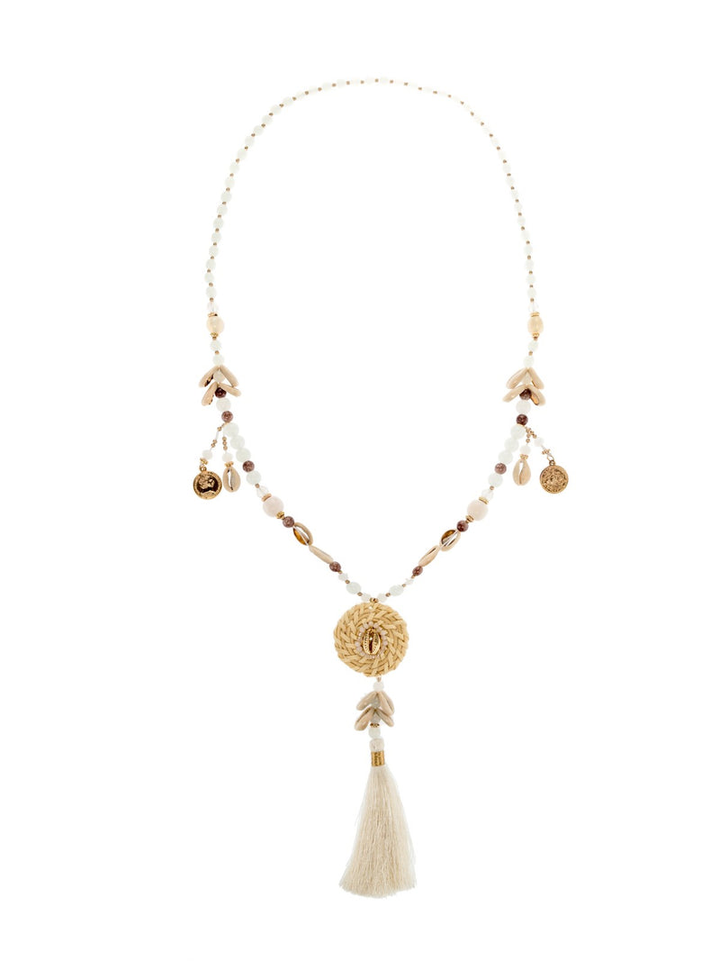 Cream Dream catcher Beaded Necklace with tassel