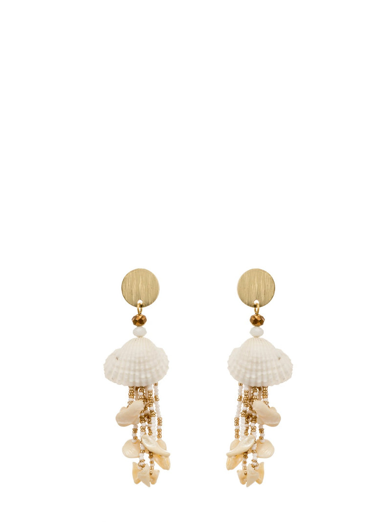 Layered Gold seashell drop earrings