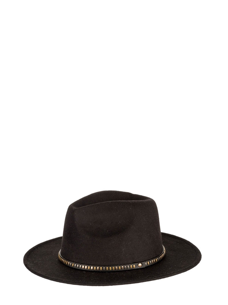 Black fedora with antique stud trim