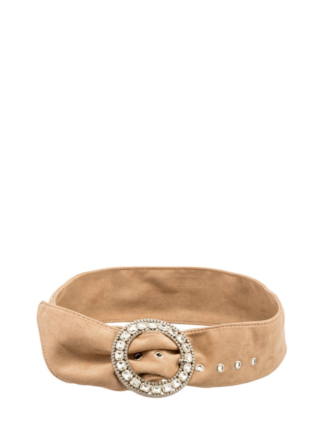 Tan Suedette Belt with Diamente Buckle
