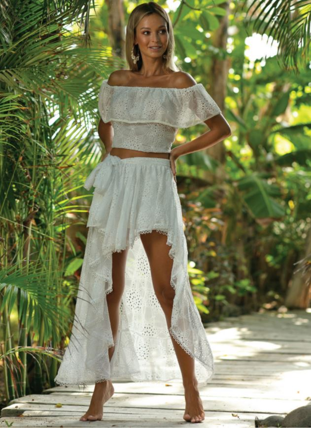 Amour High-Low Embroidery White Wrap Skirt