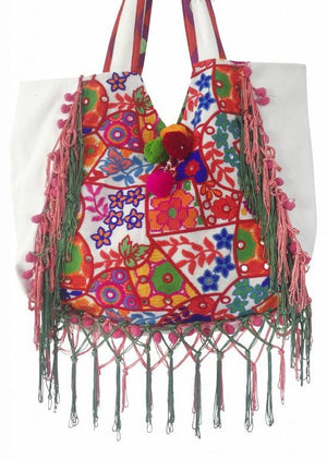 Embellished Canvas Beach Bag | Antica Sartoria