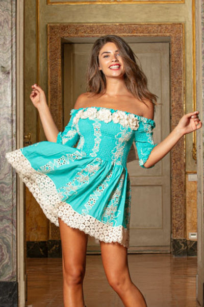 Bandeau Mini Dress Mykonos in Turquoise
