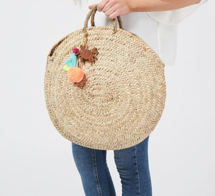 Large Round Straw basket bag