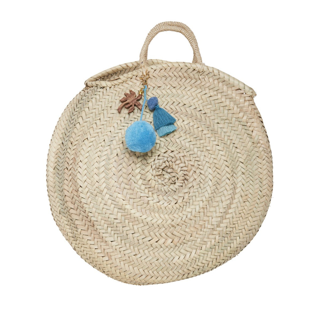 Large Round Straw basket bag - Palm Tree Charm