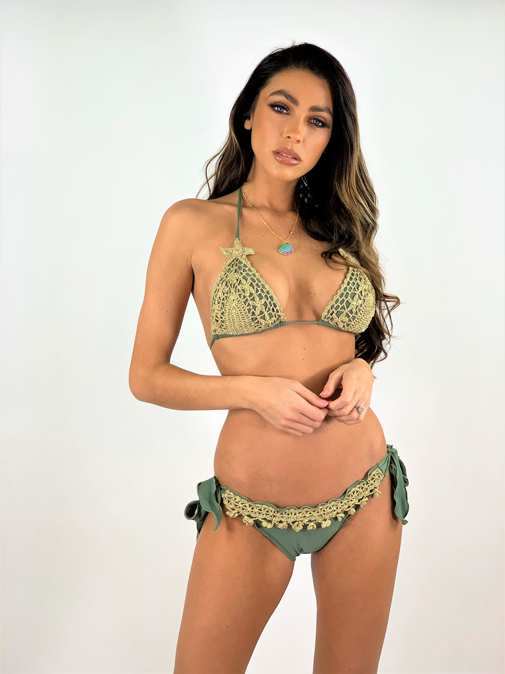 Crochet Triangle bikini Set Stella in Gold/Army