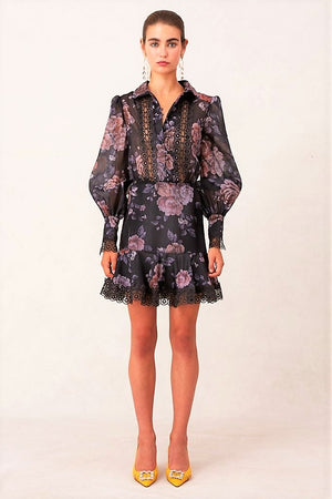 Atomic mini dress with lace in black garden print