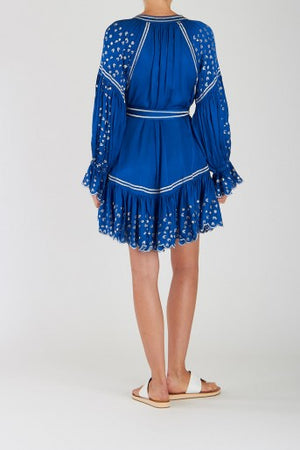 Silky Dress Preen in Blue & Silver Print