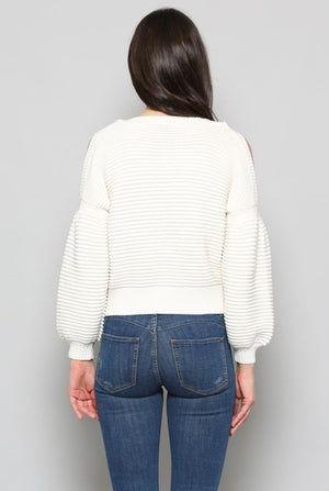 White Cold Shoulder Knit Jumper