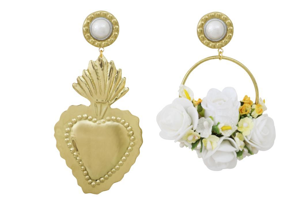 White Flower Gold Heart Earrings