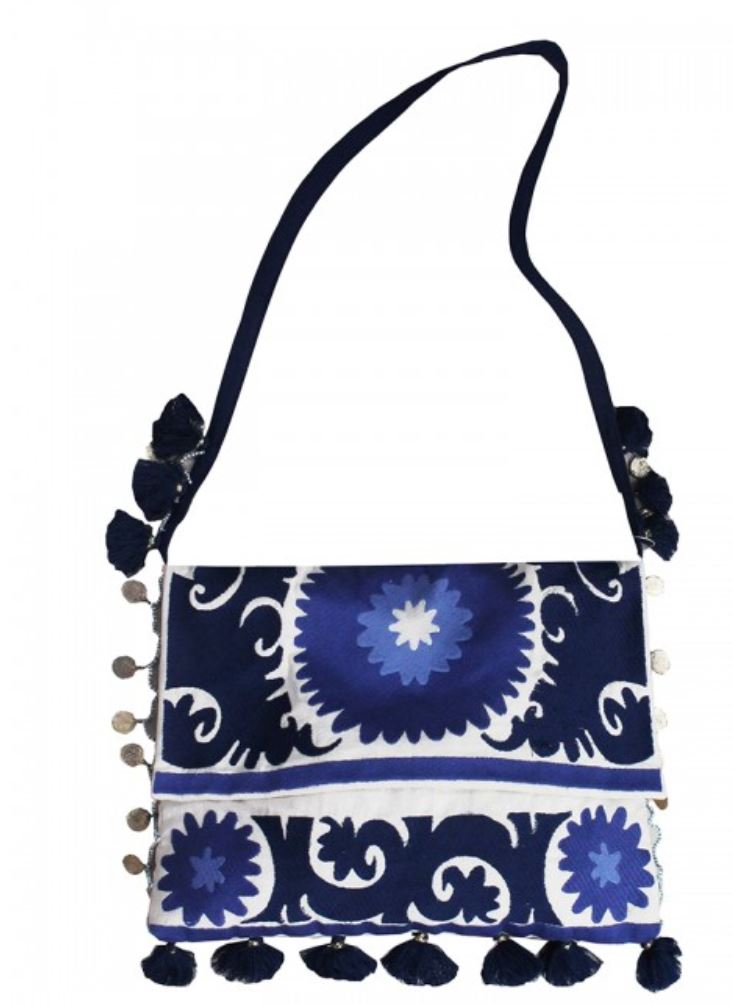 Miss June Bohemia Embroidered Crossbody Bag in Blue
