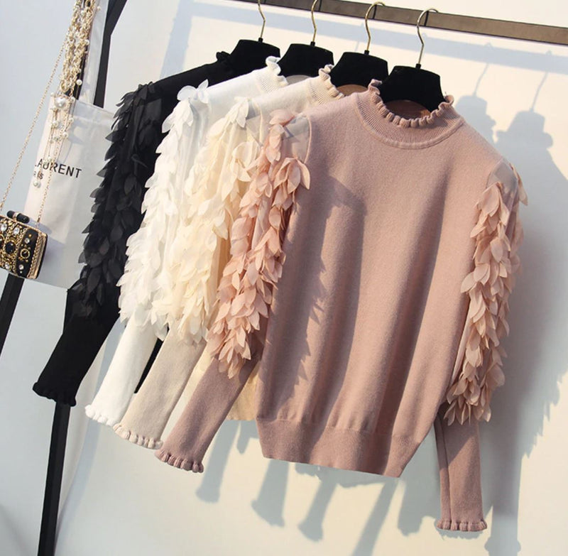 Soft knit Jumper with chiffon sleeves