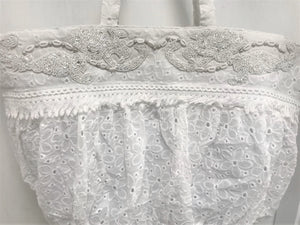 White embroidery beach bag Bianca