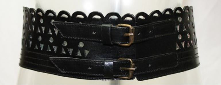 Miss June Leather Double Buckle Waist Belt