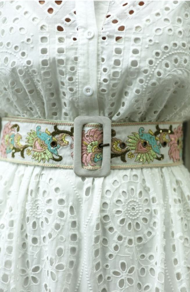 Miss June White Embroidery Belt