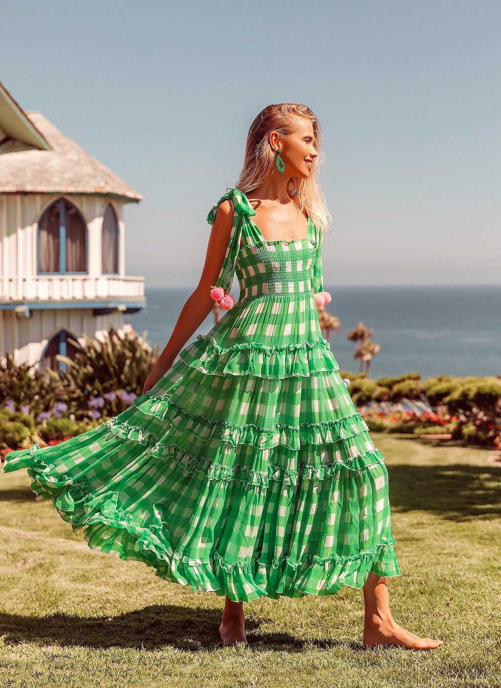 Bernice Gingham Lime dress with Neon Pompom