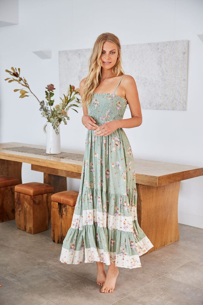 jaase Smocked Maxi Dress Betsy  in Rimu print