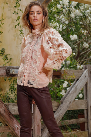 Victoriana Lace Blouse in Blush