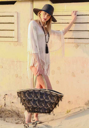 Large sequin Tassels Straw bag Sophia in Black