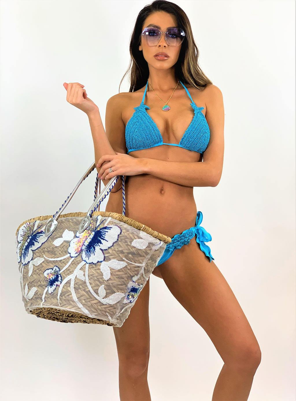 Embellished Straw bag Butterfly in Blue/White