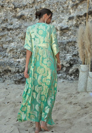 Miss June Long Kaftan bodhi in Turquoise/Gold