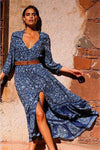 Sky blue print Maxi Dress Brunette