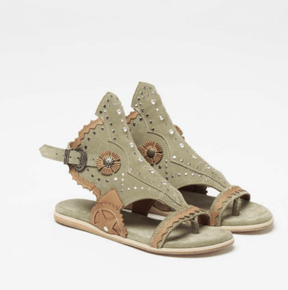 Naia Suede Sandals in Silverstone  Olive