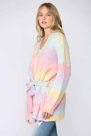 Chunky Rainbow Cardigan with Belt (Pre order)