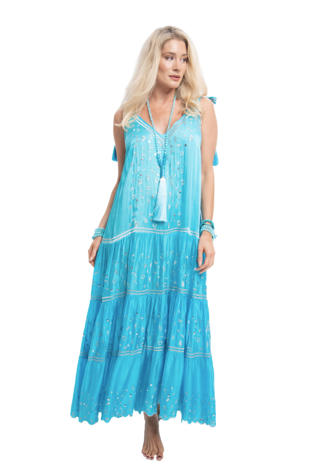 Pranella Maxi Silky Slip Dress Cadiz in Turquoise
