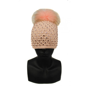 Fur Sequin Knit Pompom Hat
