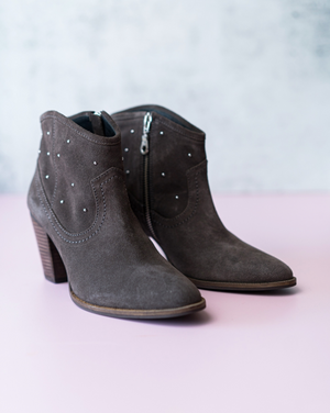 Suede Leather Ankle studded Boots in Storm Grey