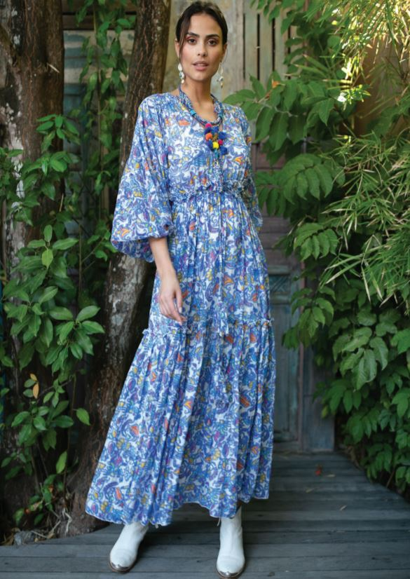 Designer Maxi Dress Carly in Blue paisley print