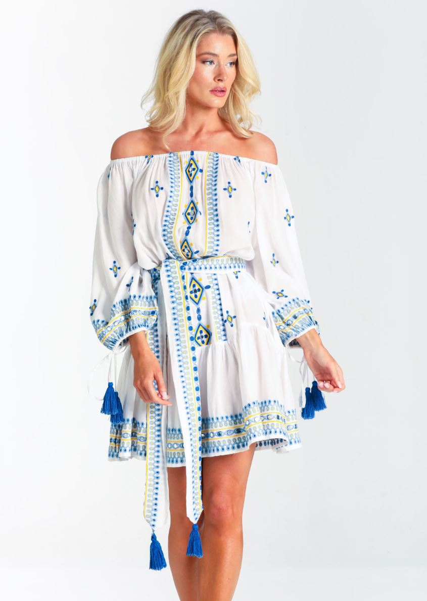 Off shoulder embroidery Dress Catalina